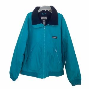 LANDS END Full Zip Fleece Lined Squall Jacket Blue Size: M